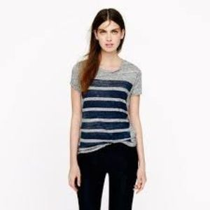 J. CREW Gray Bar Stripe Tee S EUC